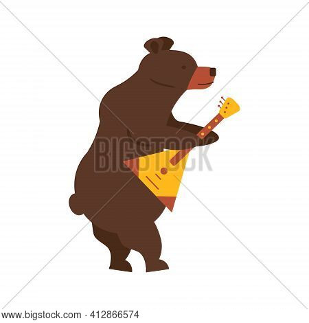 Russian National Traditional Symbol And Mascot Playing Classic Folk Musical Instrument Balalaika. Br