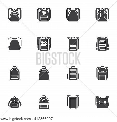 Backpack Collection Vector Icons Set, Modern Solid Symbol Collection, Filled Style Pictogram Pack. S