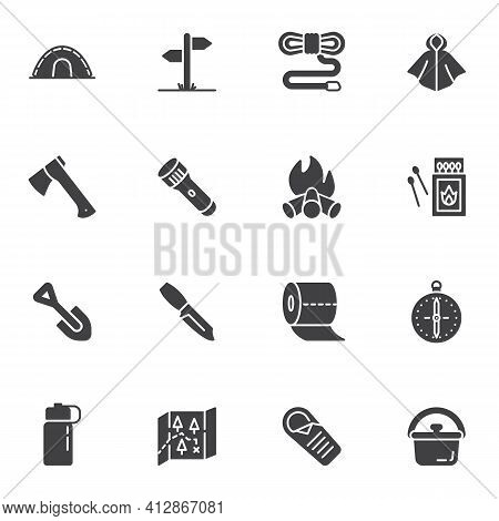 Hiking Essentials Vector Icons Set, Modern Solid Symbol Collection, Filled Style Pictogram Pack. Sig