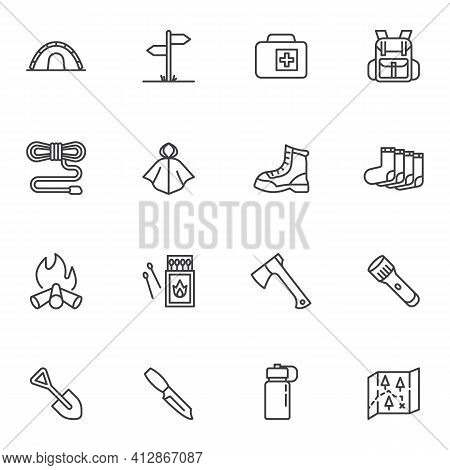 Camping And Hiking Line Icons Set, Hiking Equipment Outline Vector Symbol Collection, Linear Style P