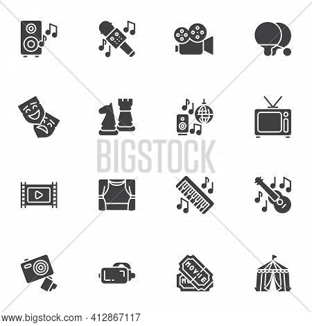 Entertainment Related Vector Icons Set, Party Modern Solid Symbol Collection, Filled Style Pictogram