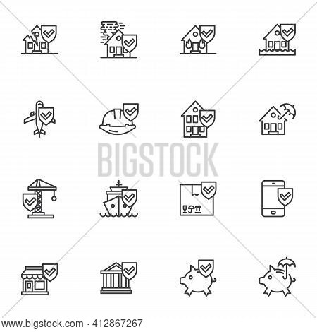 Insurance Related Line Icons Set, Outline Vector Symbol Collection, Linear Style Pictogram Pack. Sig