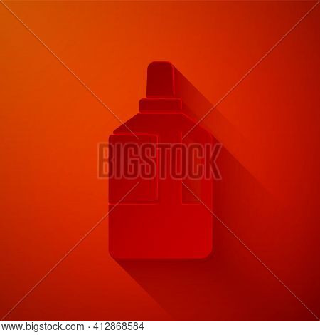 Paper Cut Fabric Softener Icon Isolated On Red Background. Liquid Laundry Detergent, Conditioner, Cl