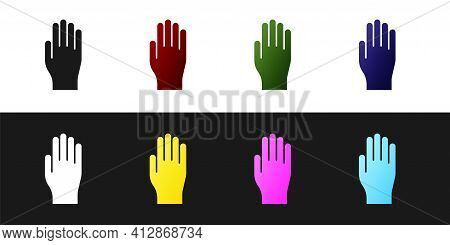 Set Medical Rubber Gloves Icon Isolated On Black And White Background. Protective Rubber Gloves. Vec