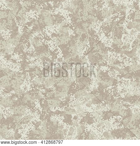 Light Beige Camouflage, Modern Fashion Textile Design. Natural Surface. Camo Grunge Pattern. Fashion