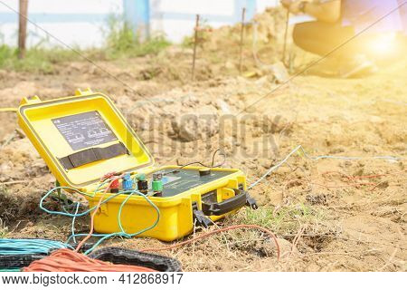 Engineers Use Earth Resistance Tester In Electricity  Substation