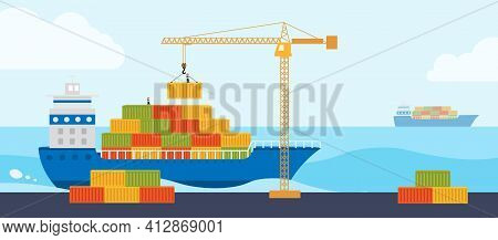 Crane Loads Cargo On To Cargo Barge. Concept Worldwide Cargo Delivery By Water.