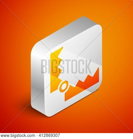 Isometric Trap Hunting Icon Isolated On Orange Background. Silver Square Button. Vector