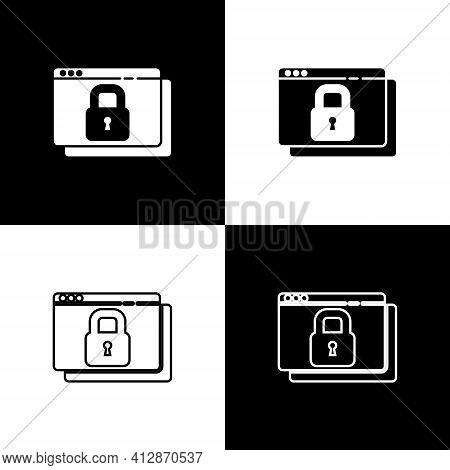 Set Secure Your Site With Https, Ssl Icon Isolated On Black And White Background. Internet Communica
