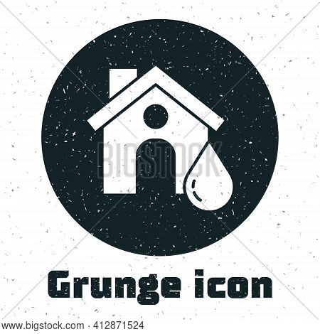 Grunge House Flood Icon Isolated On White Background. Home Flooding Under Water. Insurance Concept.