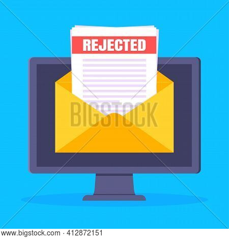 College Or University Reject Letter With Pc Computer Screen, Open Envelope Document Email.