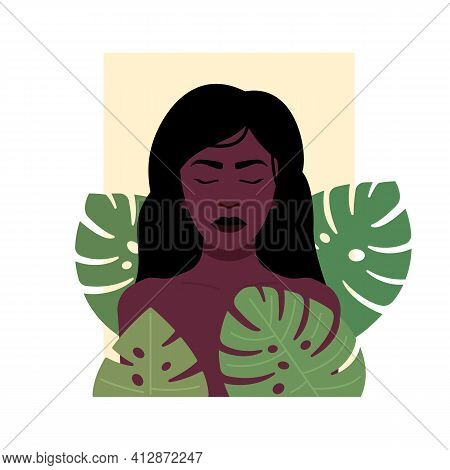 Vector Illustration Of Indigenous African Female With Long Hair And Eyes Closed Standing Amidst Gree