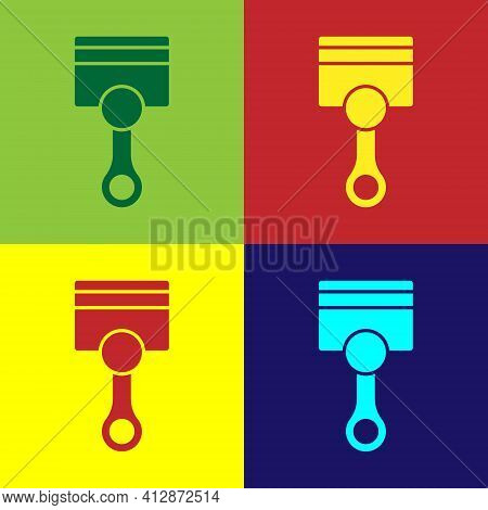 Pop Art Engine Piston Icon Isolated On Color Background. Car Engine Piston Sign. Vector