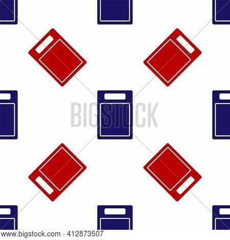 Blue And Red Cutting Board Icon Isolated Seamless Pattern On White Background. Chopping Board Symbol