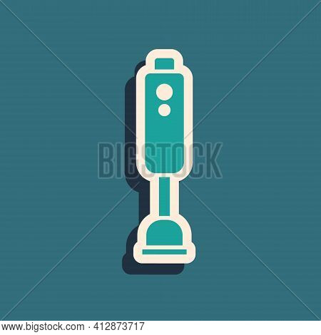 Green Blender Icon Isolated On Green Background. Kitchen Electric Stationary Blender With Bowl. Cook