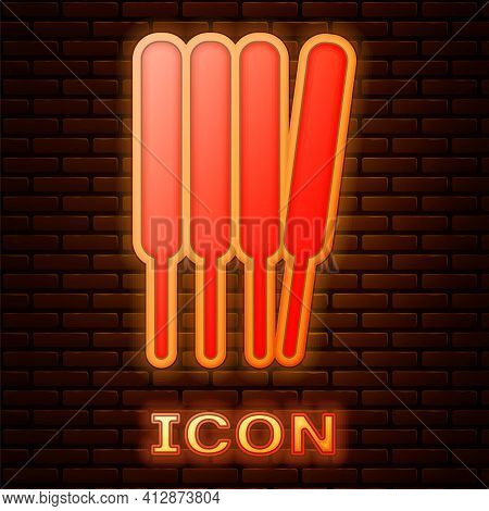 Glowing Neon Aroma Sticks, Incense, Aromas Icon Isolated On Brick Wall Background. Vector