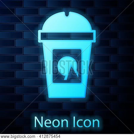 Glowing Neon Coffee Cup To Go Icon Isolated On Brick Wall Background. Take Away Print. Vector