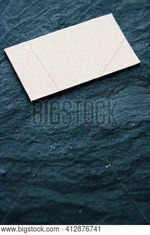White Business Card Flatlay On Dark Stone Background, Luxury Branding Flat Lay And Brand Identity De
