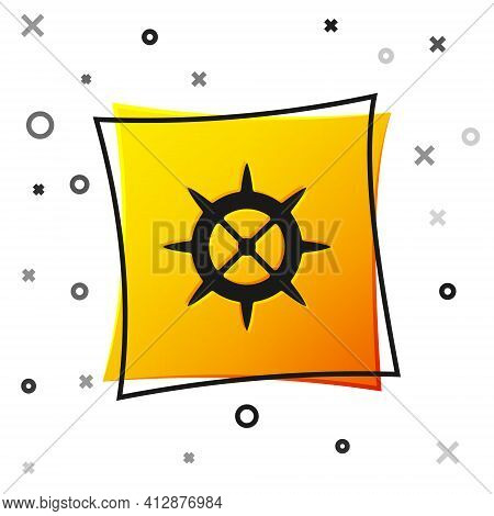 Black Bicycle Sprocket Crank Icon Isolated On White Background. Yellow Square Button. Vector