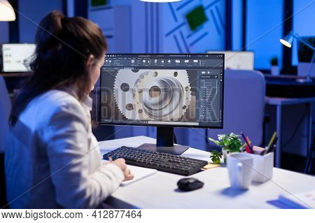 Woman Engineer Working On New Digital Prototype Using Professional Construction Equipment Late At Ni