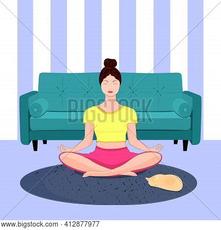A Young Woman In A Yoga Pose, In A Lotus Position. Sitting On The Couch. Vector