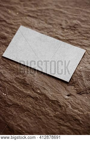 White Business Card Flatlay On Brown Stone Background, Luxury Branding Flat Lay And Brand Identity D