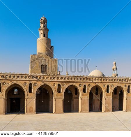 View From Courtyard Of Ibn Tulun Mosque With Its Unique Design Helical Outer Staircase Minaret, And
