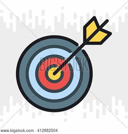 Business Goal, Target Or Aim Icon. Target With An Bow Arrow. Simple Color Version On A Light Gray Ba