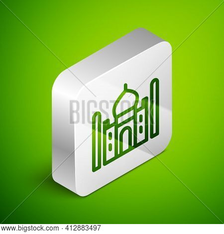 Isometric Line Taj Mahal Mausoleum In Agra, Indiaicon Isolated On Green Background. Silver Square Bu