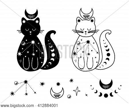 Moon Cat Set. Black And White Celestial Cat, Stars. Magic Domestic Animal. Celestial Kitty Tattoo