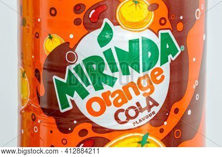 Pruszcz Gdanski, Poland - March 16, 2021: Logo Of Mirinda On Orange Cola Drink.