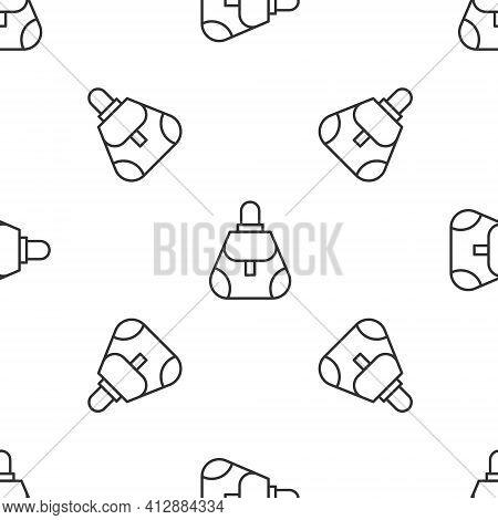 Grey Line Handbag Icon Isolated Seamless Pattern On White Background. Female Handbag Sign. Glamour C