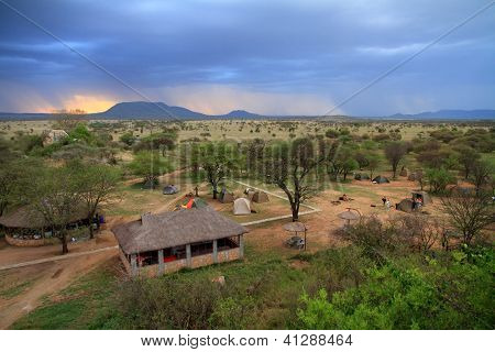 Safari Camp Under Storm