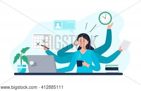 A Businesswoman Does All Work Tasks In Time. Multitasking, Time Management, And Productivity Concept