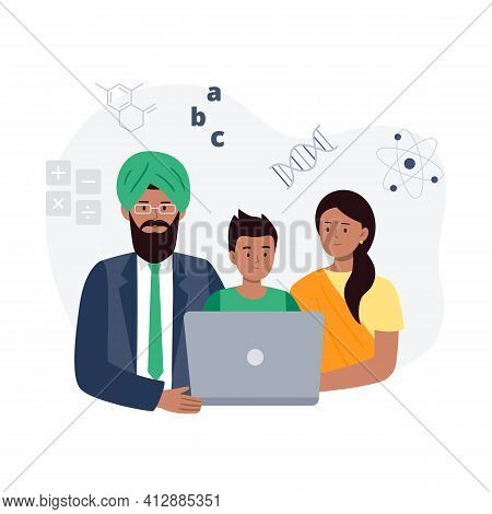 Study Together. An Indian Family Learning Online. Online Education, E-learning, Studying At Home, Tu