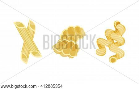 Macaroni As Dry Shaped Pasta Made With Durum Wheat Vector Set