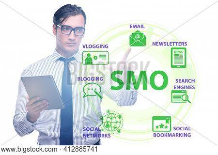 Social media optimisation concept with businessman