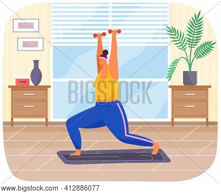 Plump Girl In Tracksuit Stands On Sports Mat. Overweight Woman With Dumbbells Go In For Sports