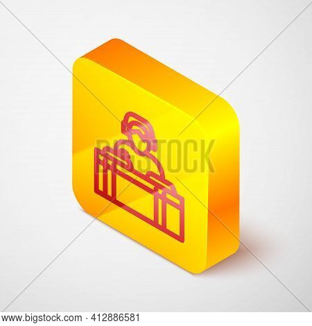 Isometric Line Dj Wearing Headphones In Front Of Record Decks Icon Isolated On Grey Background. Dj P