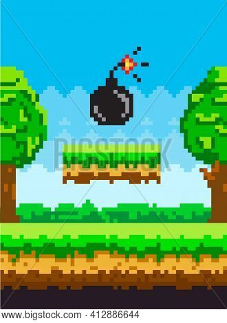 Pixel Art Style Vector Bomb Element For Retro Pixel-game. Black Round Core With Wick That Burns