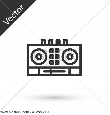 Grey Line Dj Remote For Playing And Mixing Music Icon Isolated On White Background. Dj Mixer Complet