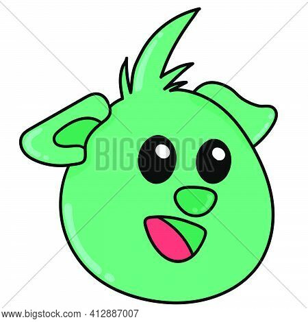 Smiling Green Monster Emoji Head, Doodle Kawaii. Doodle Icon Image. Cartoon Caharacter Cute Doodle D