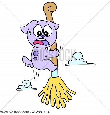 Cute Cartoon Of A Dog Being Carried Flying By A Magic Broom, Doodle Kawaii. Doodle Icon Image. Carto