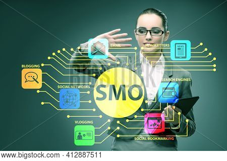 Social media optimisation concept with businesswoman