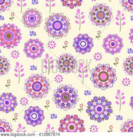 Springtime Beautiful Floral Ornament Meadow Fresh Flowers Seamless Vector Illustration Design. Fabri