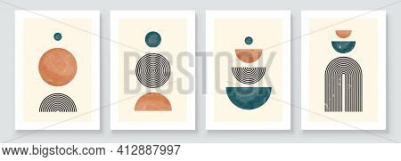 Mid Century Modern Design. A Trendy Set Of Abstract Hand Painted Illustrations For Wall Decoration,
