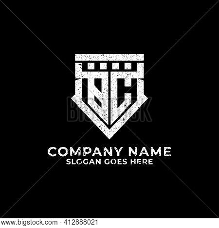 Bc Logo Design Shield, Initial Letter Bc, Cb With Retro Vintage Rustic Style Template