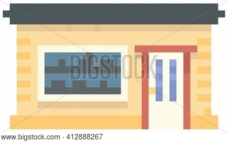 House With Black Roof, Shop. Dwelling On White Background. Brick Building, Home From Pixel-game