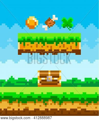 Pixel Game Interface Layout Design With Coin Leaf Chest And Meat Bone. Pixel 8 Bit Retro Video Game