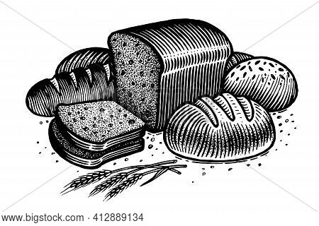 Bread, Vector Illustration. Vintage Graphics And Handwork. Drawing With An Ink Pen And Pencil. The R